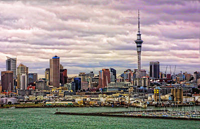 Evening Auckland Skyline Original by Linda Phelps