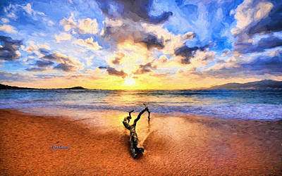 Beach Landscape Mixed Media - Evening Beach  by Garland Johnson