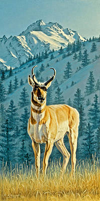 Yellowstone Painting - Evening Below Electric Peak by Paul Krapf