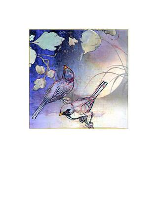 Moonlit Mixed Media - Evening Birds On Moonlit Night by Jeeby Designs