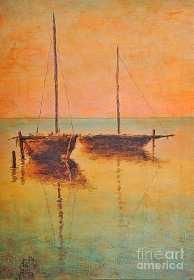 Waterscape Painting - Evening Boats by Martin Capek