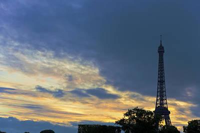 Evening By The Eiffel Tower Art Print by Maj Seda