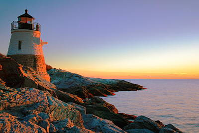 Evening Calm At Castle Hill Lighthouse Art Print by Roupen  Baker