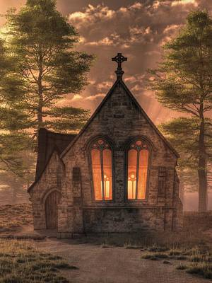 Evening Chapel Art Print by Christian Art