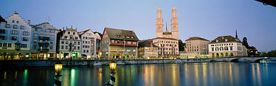 Limmat Photograph - Evening, Cityscape, Zurich, Switzerland by Panoramic Images