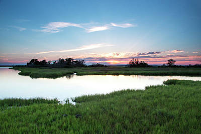 Island Beach State Park Photograph - Evening Colors Fade Over A Marsh by Robbie George