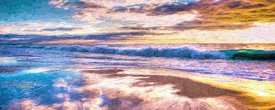 Beach Mixed Media - Evening Colors On The Beach by Garland Johnson
