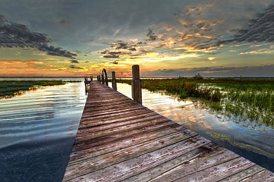 Evening Dock Print by Debra and Dave Vanderlaan