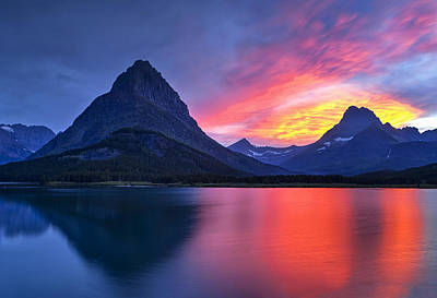 Evening Drama At Glacier Art Print by Andrew Soundarajan