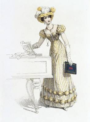 Long Gloves Drawing - Evening Dress, Fashion Plate by English School