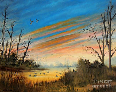 Painting - Evening Duck Hunt by Bill Holkham