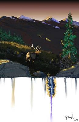 Evening Elk Art Print by J Griff Griffin