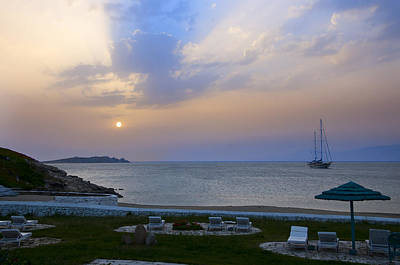 Photograph - Evening Falls Over Mykonos Greece by Brenda Kean