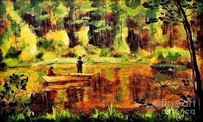 Beautiful Scenery Painting - Evening Fishing by Martin Capek