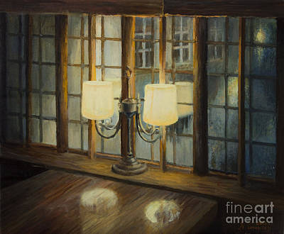 Night Lamp Painting - Evening For Two by Kiril Stanchev