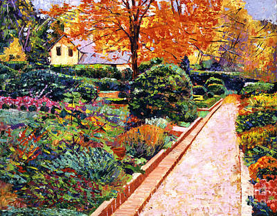 Brick Painting - Evening Garden Stroll by David Lloyd Glover