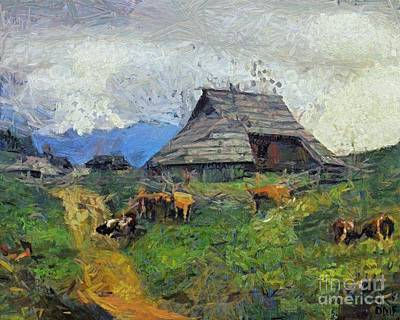Mountain Painting - Evening Gathering At The Velika Planina by Dragica  Micki Fortuna
