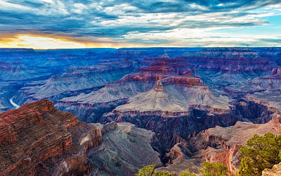Photograph - Evening Glow At The Grand Canyon by John M Bailey