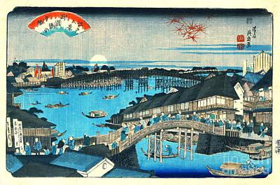 Evening Glow Ryogoku Bridge 1844 Art Print by Padre Art