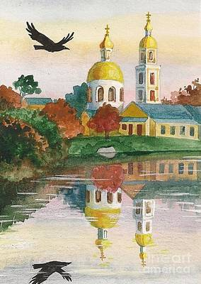 Evening Gong Of The Russian Church Print by Margaryta Yermolayeva