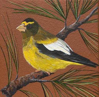 Painting - Evening Grosbeak by Jennifer Lake