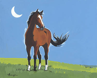 Bay Thoroughbred Horse Painting - Evening Horse by Tracie Thompson