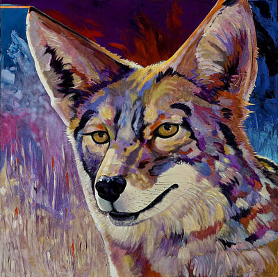 Abstract Coyote Painting - Evening Hunt by Bob Coonts
