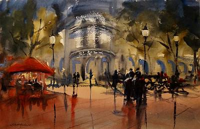 Painting - Evening In Barcelona by Sandra Strohschein