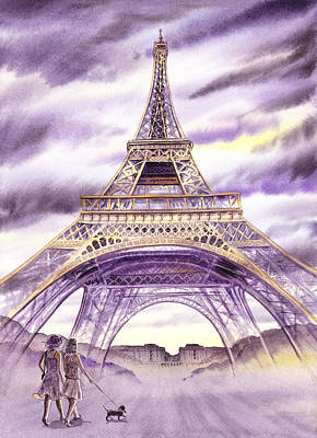 Old Wall Painting - Evening In Paris A Walk To The Eiffel Tower by Irina Sztukowski