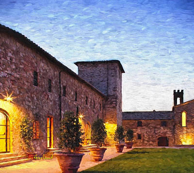 Tuscany Art Mixed Media - Evening In Tuscany by Garland Johnson