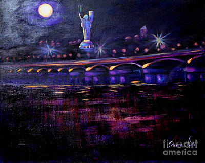 Painting - Evening Kiev. Paton Bridge by Oksana Semenchenko