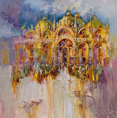 Painting - Evening Lights On St. Mark Square by Andras Manajlo