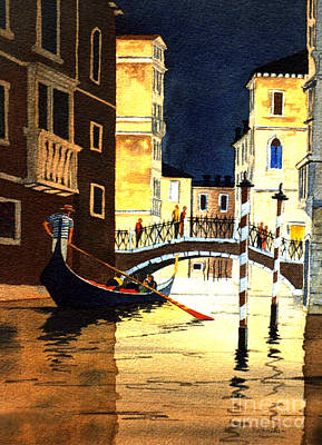 Italian Evening Painting - Evening Lights - Venice by Bill Holkham