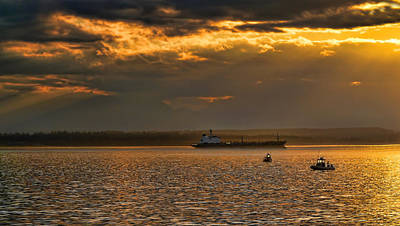 Photograph - Evening Mariners Puget Sound Washington by Jennie Marie Schell