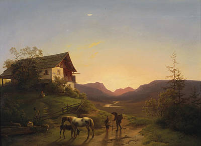 Mood Painting - Evening Mood In Front Of A Wide Landscape With Horses by Ignaz Raffalt