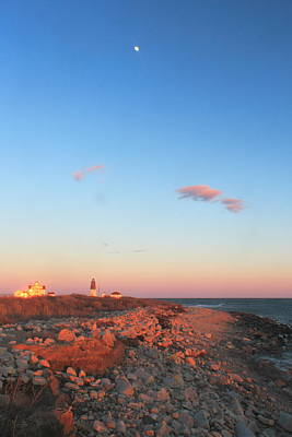 Photograph - Evening Moon Over Point Judith Lighthouse by John Burk