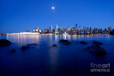 Evening Moon Over Vancouver Harbour 1 Art Print