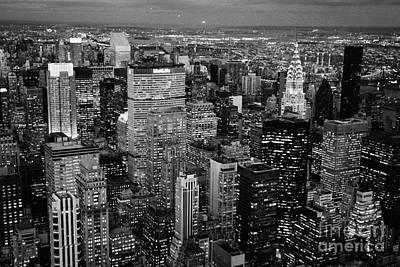 Evening Night View Of North East Manhattan Cityscape Night New York City Illuminated Art Print by Joe Fox
