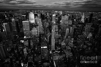 Evening Night View Of North East Manhattan  New York City Skyline Night Art Print by Joe Fox