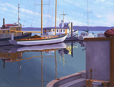Sailboat Ocean Painting - Evening On Malaspina Strait by Gary Giacomelli