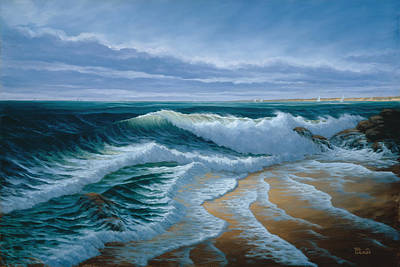 Crashing Wave Painting - Evening On Monterey Bay by Del Malonee