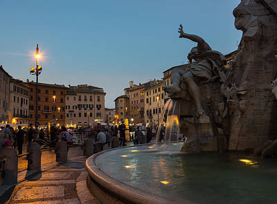 Photograph - Evening On Piazza Navona Rome Italy - Fountain Of The Four Rivers by Georgia Mizuleva