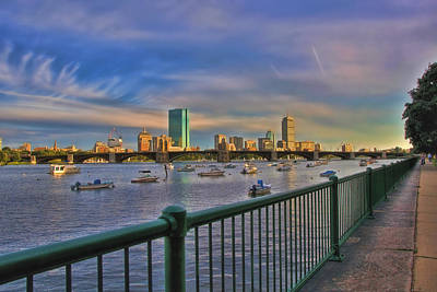 Fenway Park Photograph - Evening On The Charles - Boston Skyline by Joann Vitali
