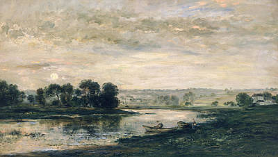 Fading Painting - Evening On The Oise by Charles Francois Daubigny