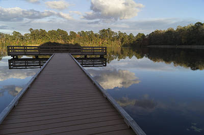 Photograph - Evening Pier At Lake Norton In Autumn by MM Anderson