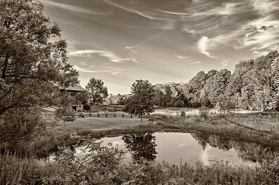 Barn Photograph - Evening Pond Sepia by Steve Harrington