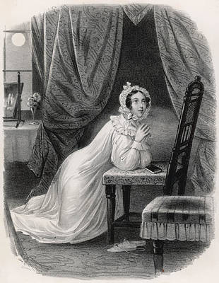 Nightcap Drawing - Evening Prayer  A Young Woman by Mary Evans Picture Library