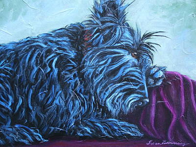 Scotty Dog Painting - Evening Prayers by Lisa Browning