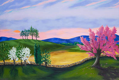 Stonewall Painting - Evening Redbud by Annie Horkan