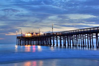Photograph - Evening Reflections Newport Beach Pier by Cliff Wassmann